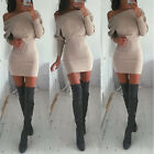 Sexy Womens Winter Off Shoulder Long Sleeve Jumper Bodycon Shirt Slim Dress #QWE