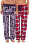 Ladies Soft Touch Check PJ Bottoms New Ladies Nightwear Navy Red Winter Pyjamas