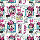 Disney MINNIE MOUSE in window on white : 100% cotton fabric by the 1/2 metre