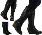 WOMENS LADIES KNEE HIGH MID CALF QUILTED WEDGE LONG LOW HEEL BOOTS SHOES SIZE