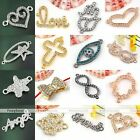 Sideways Crystal Silvery Golden Connector Charms Spacer Beads Jewellery Findings