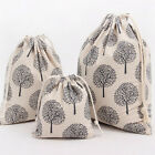 Handmade Linen Cotton Draw String Storage Bag Candy Bag Black Fortune Tree N054B