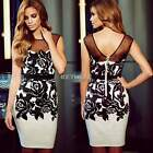 Sleeveless Pencil Women Dress Bodycon Sheer Sheath Wear To Work Business K0E1