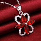 Lady Flower Red Crystal Pendant +925 Sterling Silver Chain Necklace Jewelry A655
