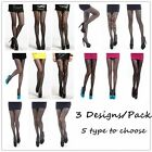 Assorted-Pack Black Women Fishnet Net Pattern Jacquard Pantyhose Tights Stocking