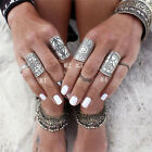 4 Styles Fashion Carved Chunky Vintage Silver Ethnic Wide Women's Band Rings