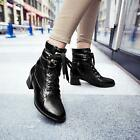 New Hot Women's Fashion Lace up Mid Heel Ankle Short Boots Shoes UK Size Air008