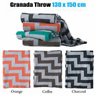 3 Color Choice - Granada Chevron Couch Bed Throw Knited Blanket Rug 130 x 150 cm