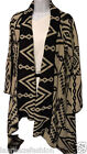 Ladies waterfall cardigan shawl Aztec print black stone One Size UK 8-14