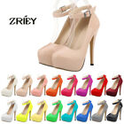 ZriEy Ladies High Heels Close Toe Platform Stiletto Strappy Patent Leather Shoes