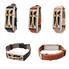 Black/Beige/Brown Leather Band with Golden Metal Housing For Fitbit Flex Holder