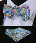 BMF204B Blue Yellow Pink Floral Men Cotton Self Bow Tie Pocket Square set