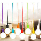 E27 75mm Color Silicone Ceiling Rope Cord Pendant Lamp Holder Light Bulb Socket
