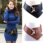 Black/Brown Womens Faux Leather Alloy Buckle Elastic Wide Belt WaistbandStrap