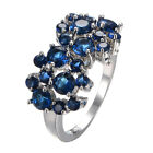 RoyalBlue Sapphire CZ Gem Engagement Rings 10Kt White Gold Filled Sz 6-10 Womens