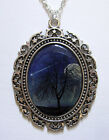 GOTH victorian Silver MOON Sky Tree SHOOTING STAR Space CAMEO necklace/PENDANT