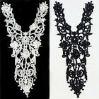 1 / 10 Pc Polyester Off White Black Long Applique Neckline Collar Lace Trim NEW