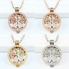 Tree of Life Coin Locket Pendant Necklace w CZ Frame Carrier/Keeper & 80cm Chain