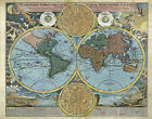 MP43 Vintage 1700's Planiglobii Terrestris World Map Heaven & Earth A1/A2/A3
