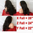 DARK BROWN Long Curly Layered Half Wig Hair Piece Ladies 3/4 Wig Fall Clip in#2