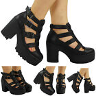 SALE! WOMENS LADIES BLACK CLEATED SOLE PLATFORM HIGH HEEL SHOES ANKLE BOOTS SIZE