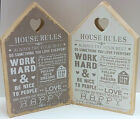 House Rules Wooden Sign Plaque Chic Shabby Heart Home Plaque Rustic Vintage Fun