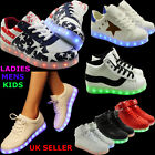 WOMENS LADIES MENS LACE UP SNEAKERS LUMINOUS LIGHT UP TRAINERS SPORTS SHOES SIZE