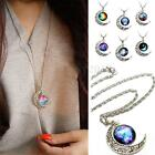 Women Galactic Glass Cabochon Pendant Silver Crescent Moon Necklace Charm Chain