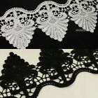 2 Yds Black/White Flower Venise Wave Polyester Lace Sewing Applique Trims Crafts