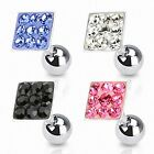 Tragus Ohr Helix Cartilage Barbell Piercing Stecker Multi Kristall Viereck
