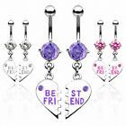 "Bauchnabelpiercing Navel Ring 1 Pärchen ""Best Friend"" Herz - Clear / Pink / Lila"