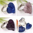 1p Crystal Heart Peach Shape Adjustable Finger Ring #7.5 Fashion Party Women