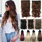 Real Natural 140G Clip In Hair Extensions Half Full Head Straight Curly Wavy a2m