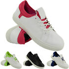 LADIES RUNNING TRAINERS WOMENS WHITE FITNESS GYM SPORTS LACE UP COMFY SHOES SIZE