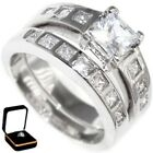 2.83CTW PRINCESS CUT STONE ENGAGEMENT - WEDDING RING SET (2 rings) 6,7,8,9,10