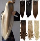 Real Natural Full Head Clip in on Hair Extentions Synthetic Remy Bleach blonde