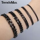 3/5/7/9/11MM 7-11 inches Black Curb Link Stainless Steel Bracelet Mens Chain