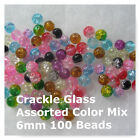 Crackle Glass Mixed Colors Pink Blue 100 Beads Jewelry Art Beads