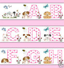 Pink Puppy Alphabet Wallpaper Border Wall Art Decal Girl Letter Abc Dog Stickers