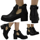 WOMENS LADIES CUT OUT ZIP MID CLEATED BLOCK HEEL BUCKLE ANKLE BOOTS SHOES SIZE