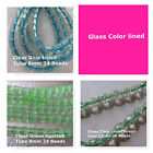 Glass Clear Color Lined Beads Green Blue 8mm Tube  Green 11mm Oval Spacer Beads