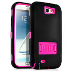 For Samsung Galaxy Note 2 II Hybrid Rugged Impact Rubber Hard Case Cover W/Stand