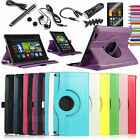 "Rotating PU Leather Case Stand For Amazon Kindle Fire HD 7"" 2013 W/ Car Charger"