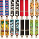 BRIMARC HEAVY DUTY MENS METAL CLIP WIDE TROUSER BRACES 39 ASSORTED PATTERNS RDG