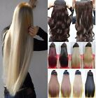 Long Straight Curly Clip In Extensions Half Full Head Hair Real 1Pcs Pale Blonde