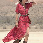 Women's Sexy V-Neck Long Maxi Dress Floral Cocktail Party Boho Beach Dress S-XL