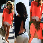 Women's Sexy Loose Casual Chiffon Backless Vest Shirt Tops Blouse T-Shirts