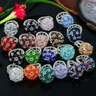 Womens Cocktail Crystal Glass Faceted Drum Beads Cluster Flower Finger Ring US 6