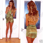 Womens Satin Strappy Plunging Bustline Asymmetric Party Evening Sexy Dress