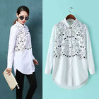Womens Printed Cats Button Down Long Blouse Tops Delicate Long Sleeve Tee Shirts